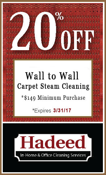 Wall to Wall Carpet Steam Cleaning special